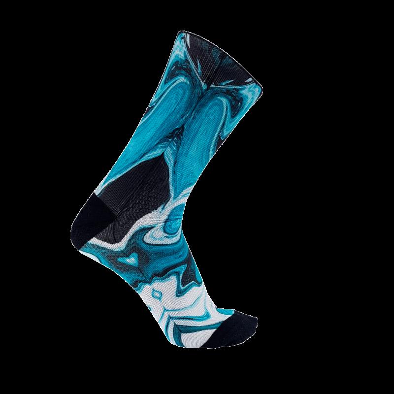 Calcetines de ciclismo Monolon Blue Liquid tecnicos media compresion